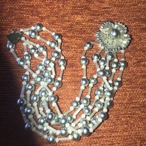Miriam Haskell Vintage beaded floral bracelet